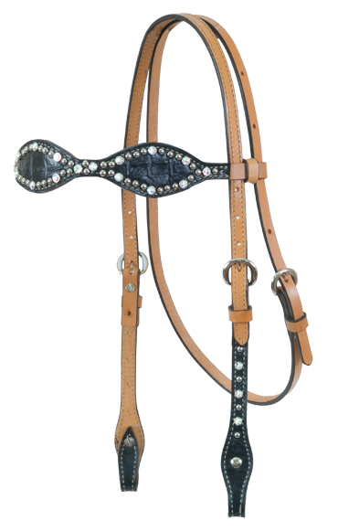 2065-JGA Scalloped Black Gator Headstall